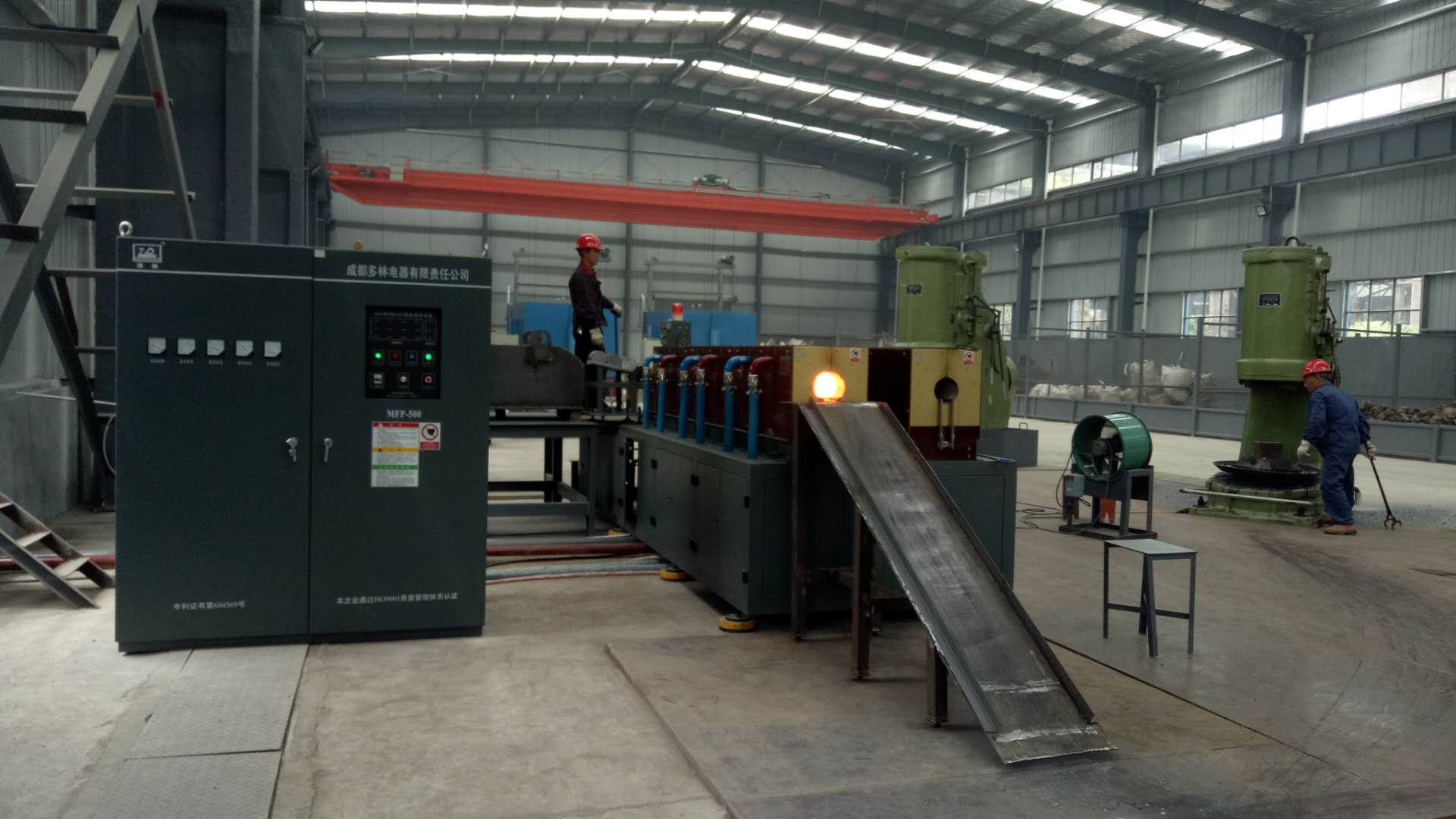 Dia 150-100 steel rod induction heating before forming